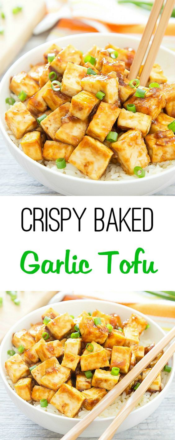 Tofu is baked until crispy and then tossed in a thick, Chinese-style stir-fry garlic sauce.