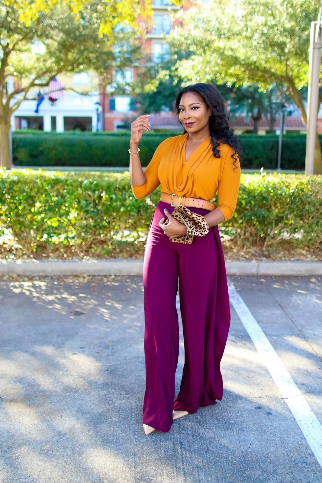 mustard draped top  burgundy wide leg pants  irony of ashi