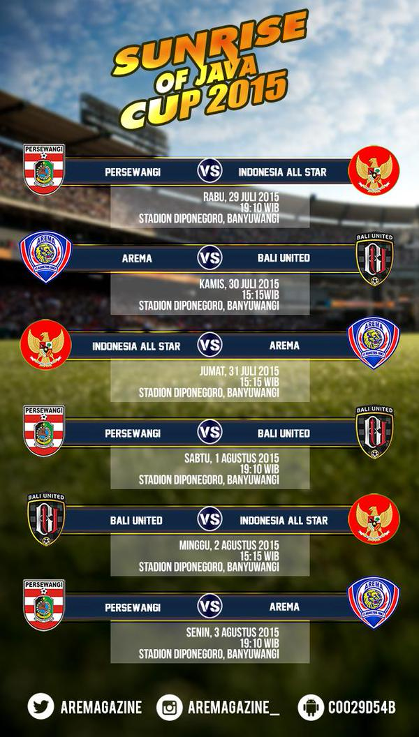 Jadwal Sunrise of Java Cup @aremagazine