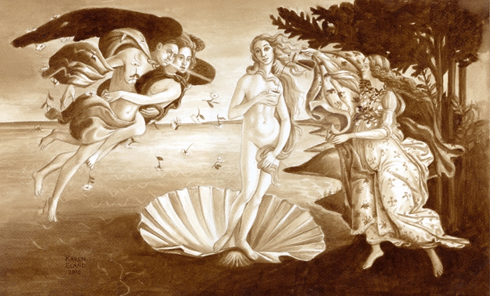 05-Sandro-Botticelli-The-Birth-of-Venus-Karen-Eland-Coffee-and-Water-Recreate-Famous-Paintings-with-a-Difference-www-designstack-co