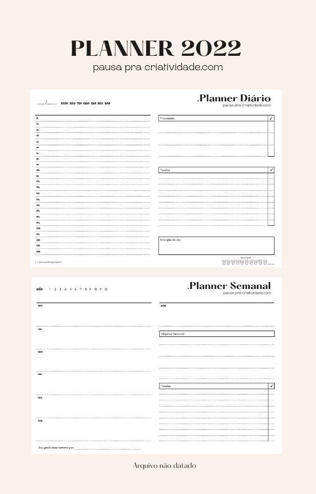 Planner 2022: Diário e semanal para baixar grátis