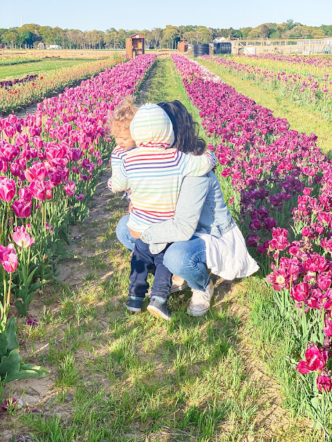 mommy and me, mama's boys, mother son, mother's love, spring 2020, mothering during crisis, mommy and me photos, tulips, stay home, coronavirus, latina mom, new york mom, long island mom