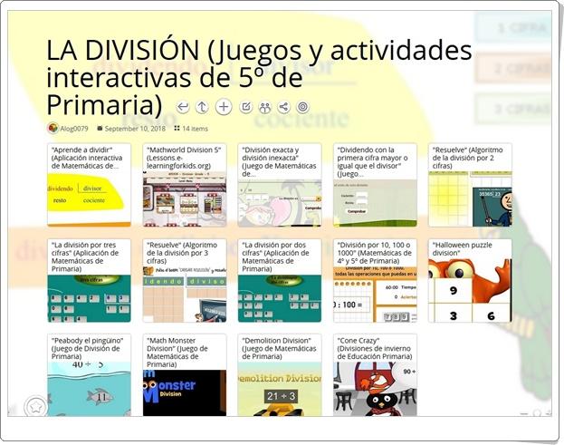 """""""14 Juegos y actividades interactivas para la práctica de LA DIVISIÓN en 5º de Primaria"""""""