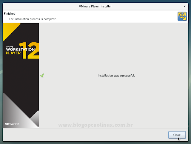 O VMware Workstation Player instalado com sucesso!