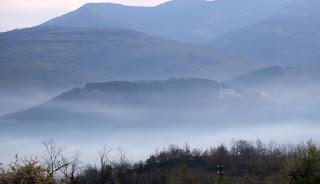 Parents' hotel through the mist