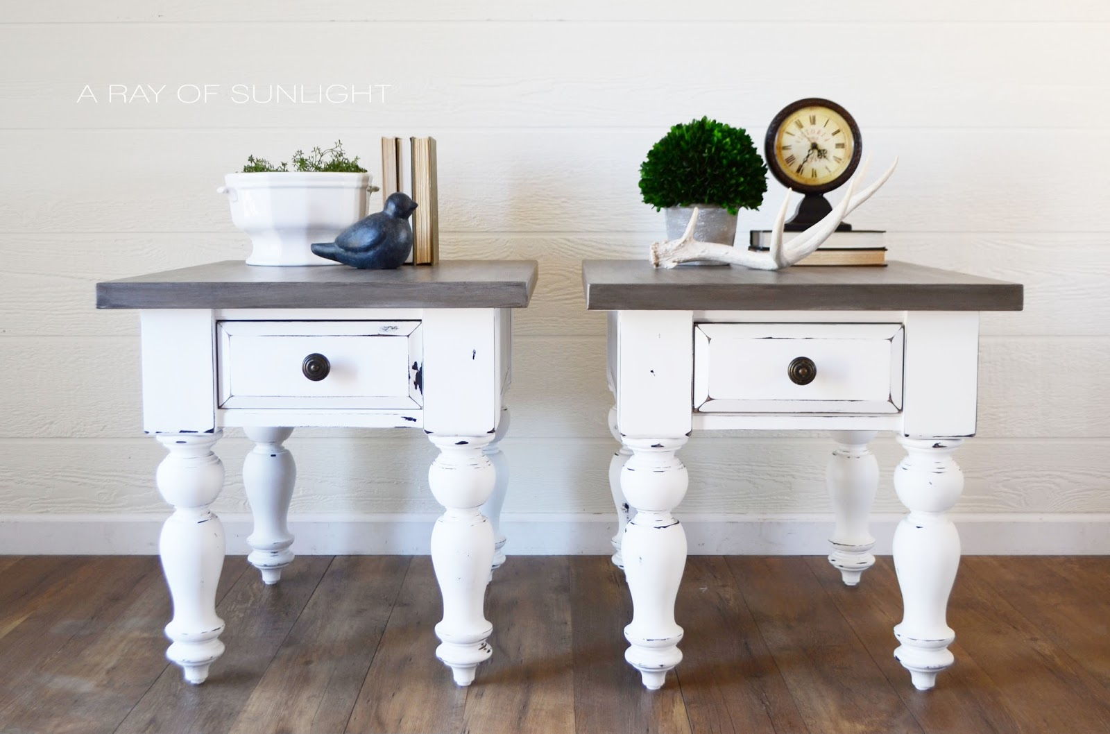 White Farmhouse Tables with Weathered Wood Tops - A Ray of ...
