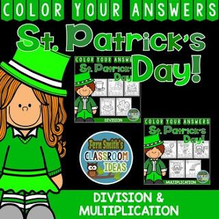 MORE St. Patrick's Day Color By Number Multiplication & Division Bundle