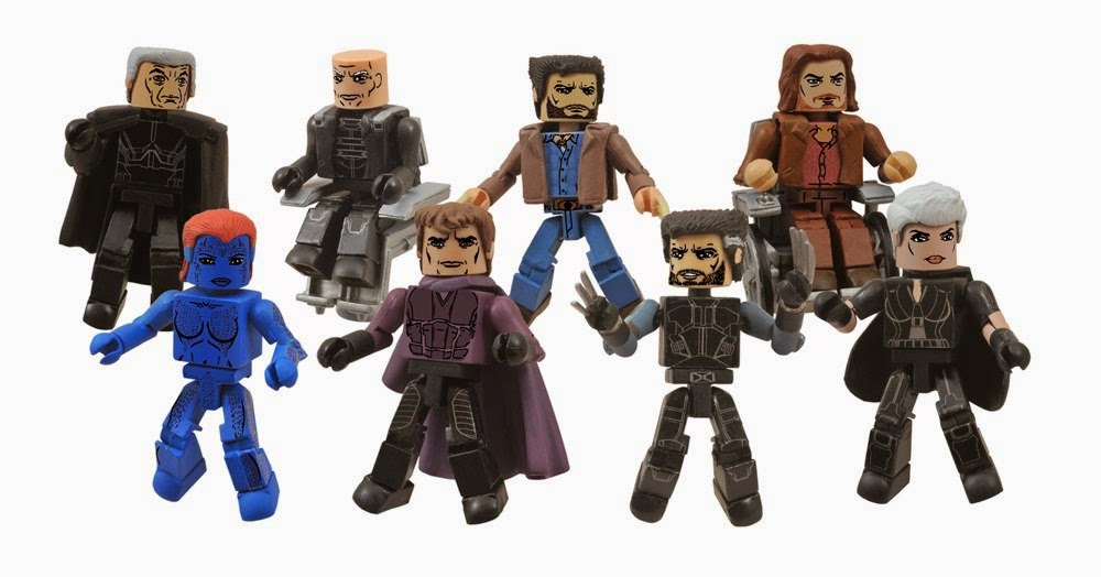 X-Men Days of Future Past Marvel Movie Minimates Series 58 - Future Magneto, Past Mystique, Future Charles Xavier, Past Magneto, Past Wolverine, Future Wolverine, Past Charles Xavier & Future Storm