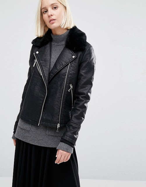 warehouse leather coat fur collar, leather jacket with fur collar,