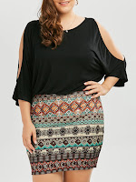 Tribe Plus Size Batwing Sleeve Dress - Black