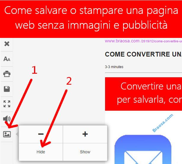 Come stampare o salvare una pagina di un sito eliminando pubblicità e immagini