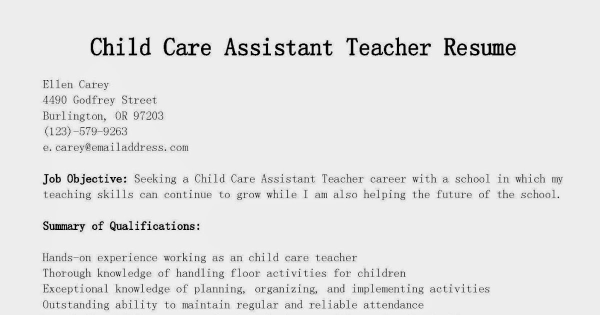 Resume For Child Care. Here Is Download Link For This Childcare
