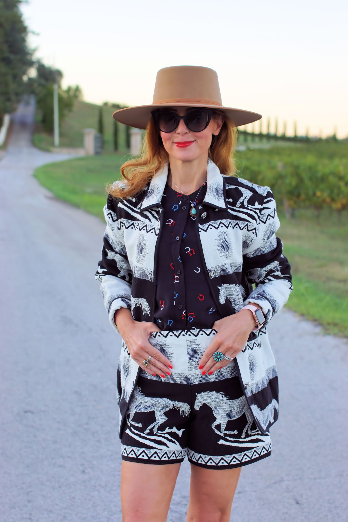 Western jacquard jackets with horse print
