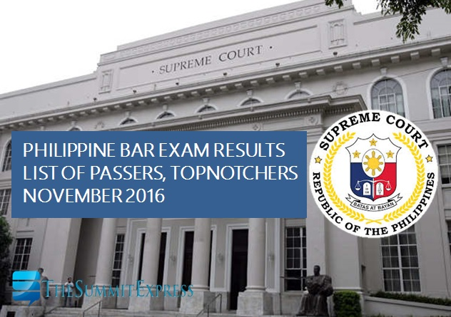 List of Passers: November 2016 Philippine Bar Exam results released
