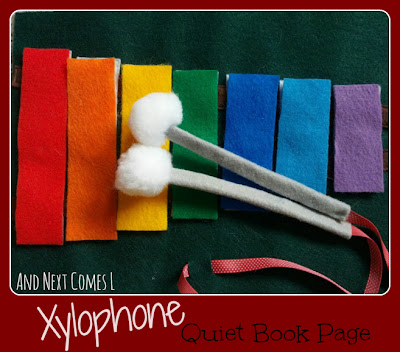 Xylophone quiet book page from And Next Comes L