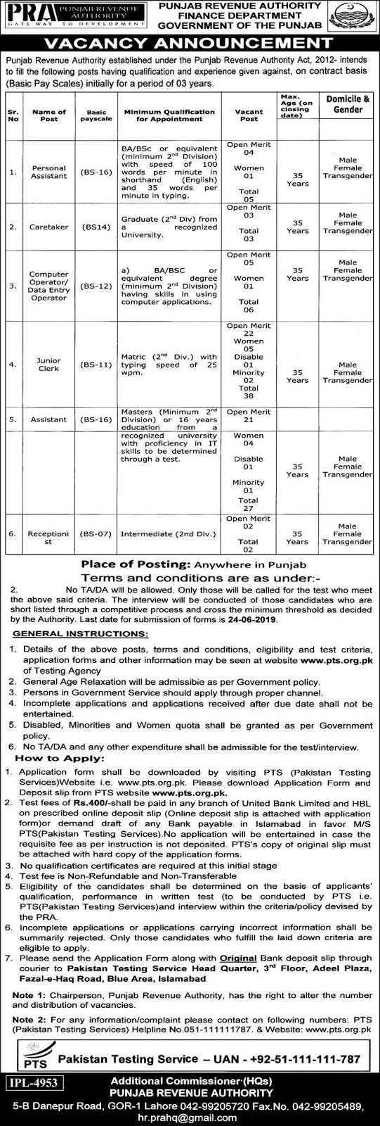 Punjab Revenue Authority Jobs 2019 June Govt of Punjab