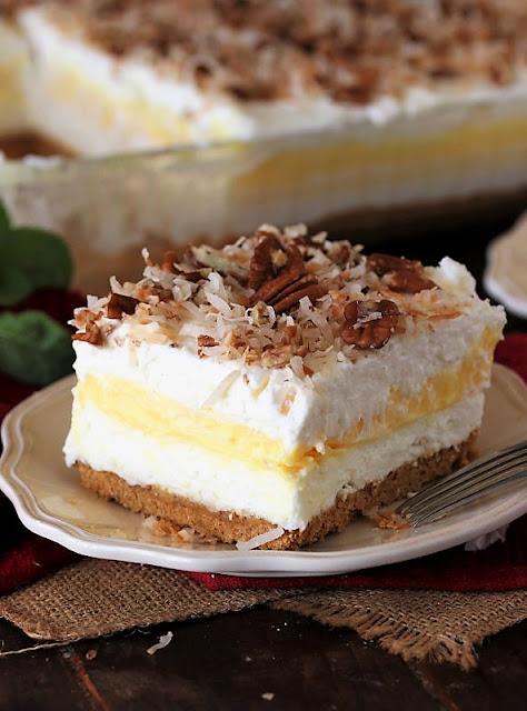 Piece of No-Bake Coconut Cream Yum Yum Image