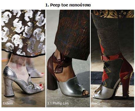 352c0f6812 1. Peep toe παπούτσιαΤα peep toe παπούτσια είναι στη μόδα και φέτος. Γι   αυτό τα πέδιλα και τα σανδάλια θα φορεθούν και το χειμώνα παρά το κρύο.