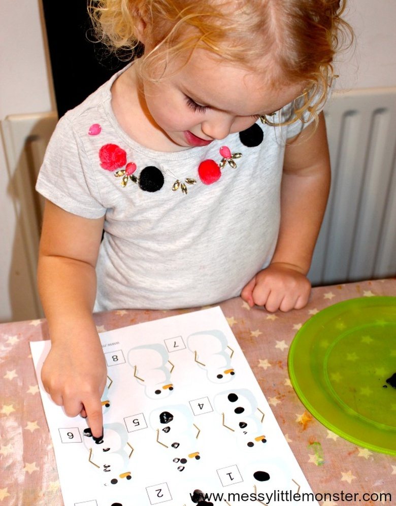 Snowman fingerprint counting snow learning activity for kids