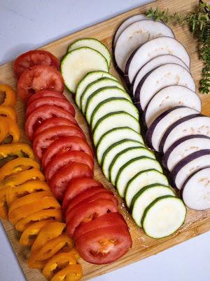 Vegetables sliced uniformly