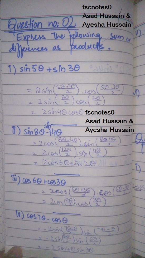 FSc ICS FA Notes Math Part 1 Chapter 10 Trigonometric Identities Exercise 10.4 Question 1 - 2 written by: Asad Hussain & Ayesha Hussain 3