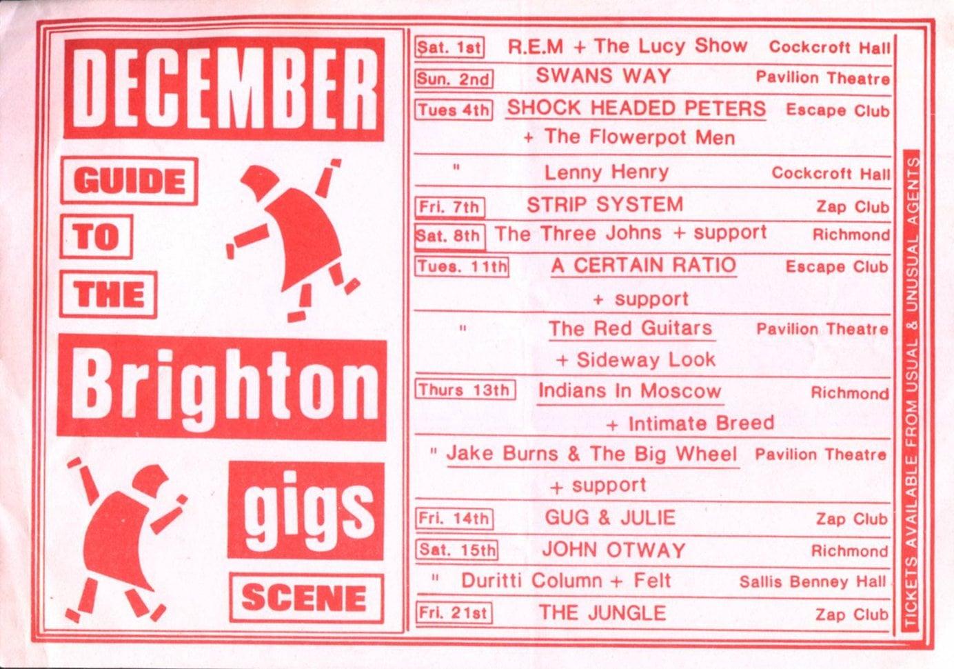 15 Dec 1984, Escape Club, Brighton - The Durutti Column Gigography