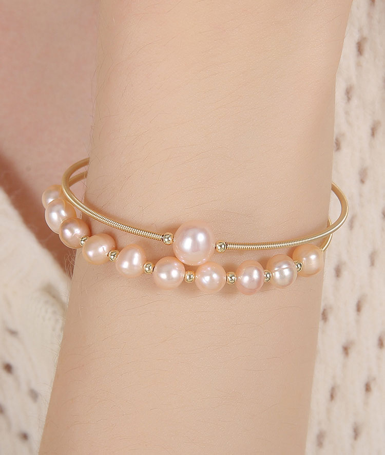 時尚日月星辰淡水真珍珠黃銅手環