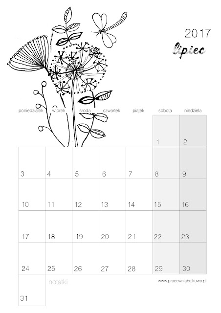 *kalendarz do druku* miesiąc LIPIEC 2017