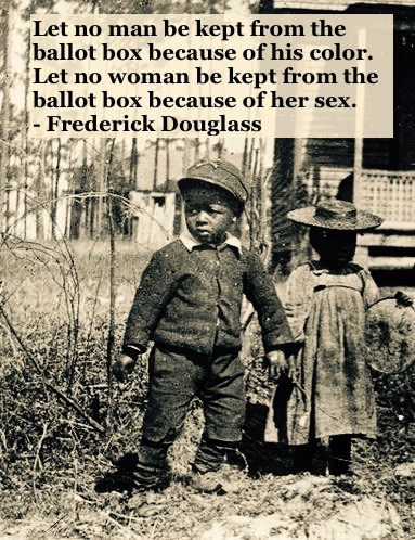 Photo young black brother and sister holding hands.c 1930s Everyone needs the right to vote quote by Fredrick Douglass. Other stories of Racism and Civil Rights. Well said, Mr. Douglass. marchmatron.com