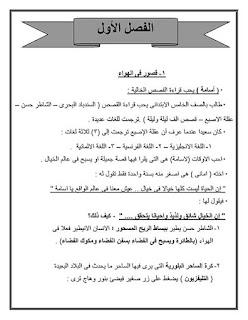 مذكرة لغة عربية للصف الخامس الابتدائي الترم الاول لمدرسة الكرمة للغات