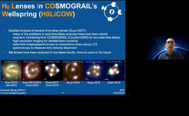 HOLiCOW Collaboration uses time delay cosomography (Source: K. Wong, APS April 2020 meeting)