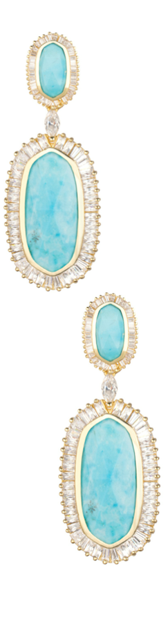 Kendra Scott Baguette-Trim Oval Drop Turquoise Earrings