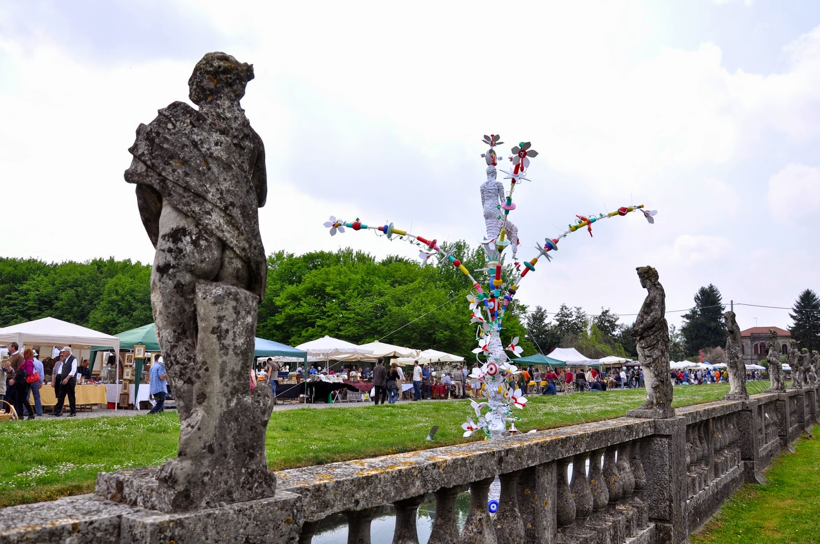 A view of the antiques market and a piece of modern art, Piazzola sul Brenta, Veneto, Italy