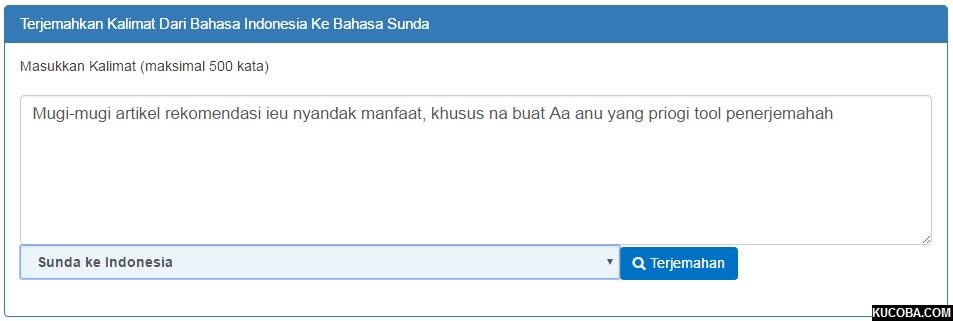 Google Translate Bahasa Sunda ke Bahasa Indonesia