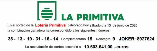 Resultado Primitiva 13 de junio de 2020