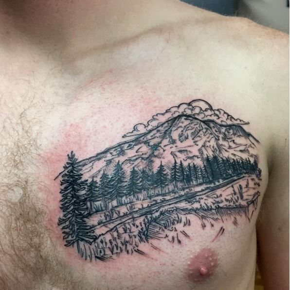 50 nature landscape tattoos for men and women 2018 page 3 of 5 tattoosboygirl. Black Bedroom Furniture Sets. Home Design Ideas