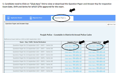 Punjab Constable Answer key 2021 and Question paper