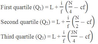 """First quartile (Q1) = L + """" i """" /""""f""""  (""""N"""" /""""4"""" -""""cf"""" ) Second quartile (Q2) = L + """" i """" /""""f""""  (""""N"""" /""""2"""" -""""cf"""" ) Third quartile (Q3) = L + """" i """" /""""f""""  (""""3N"""" /""""4"""" -""""cf"""" )"""