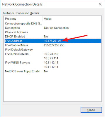Network connection details