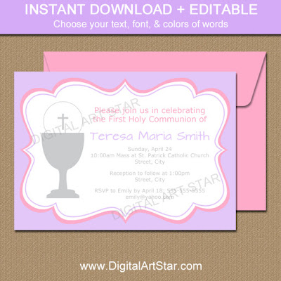 girl first communion invitation in lavender & pink