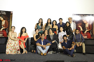 Vidya Balan with Ila Arun Gauhar Khan and other girls and star cast at Trailer launch of move Begum Jaan 027.JPG