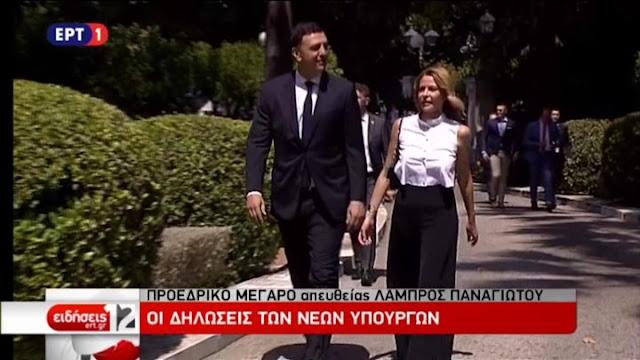Με την Τζένη Μπαλατσινού στο πλευρό του έφτασε στο Προεδρικό Μέγαρο ο Βασίλης Κικίλιας