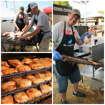 Cooking Pork Chops on a Stick at the Iowa State Fair