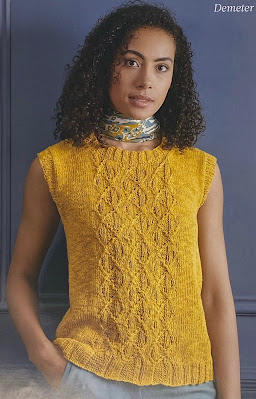 Image of a magazine page showing a beautiful model wearing a gold colour knitted sleeveless top