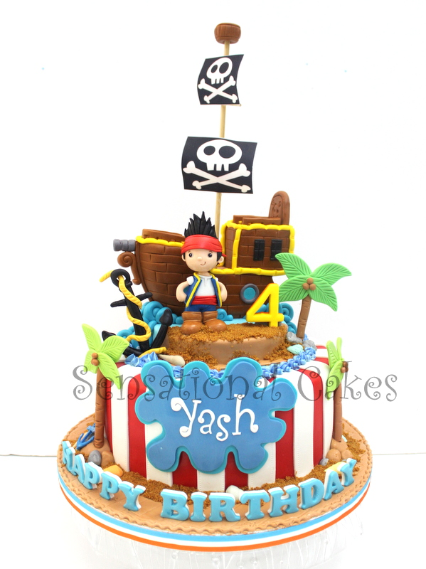 Brilliant The Sensational Cakes Jake Pirate Ship Boys Cake Singapore 2 Personalised Birthday Cards Arneslily Jamesorg