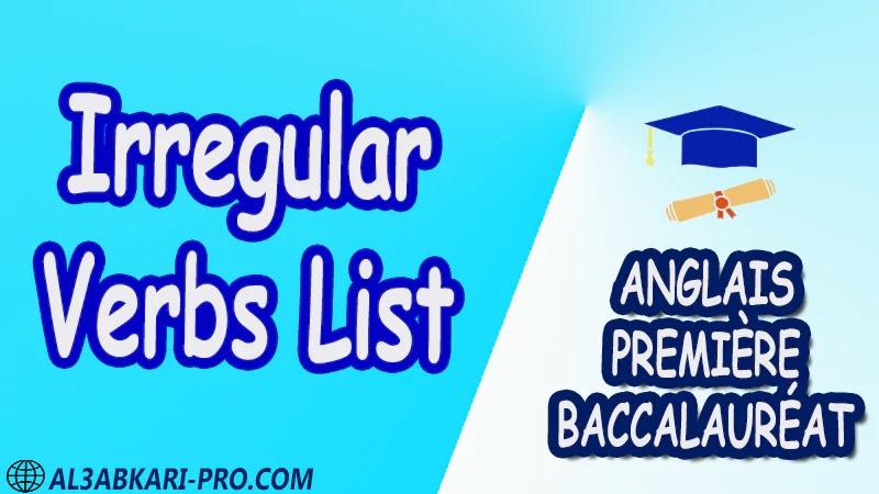 Irregular Verbs List - Grammar Courses - Anglais Première baccalauréat PDF English 1 ère Bac première baccalauréat 1 er bac 1 ere