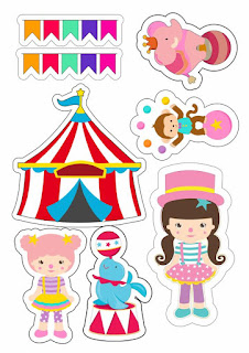 The Circus for Girls Free Printable Cake Toppers.