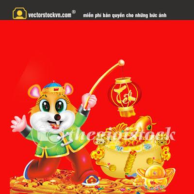 Vector con chuột vàng cầm dây pháo