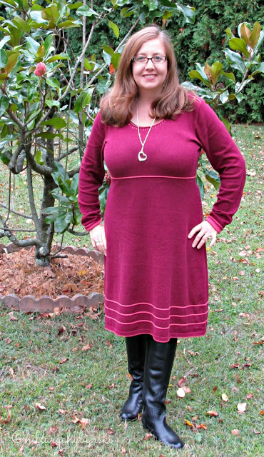 A Merlot Dress With Boots