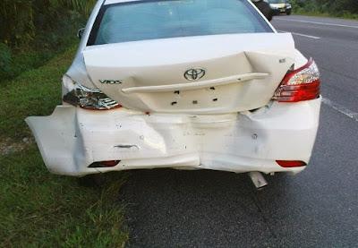 kereta kena langgar belakang, cara bila kena langgar belakang